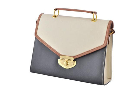 Black and Beige Contrast Envelope Satchel Bag