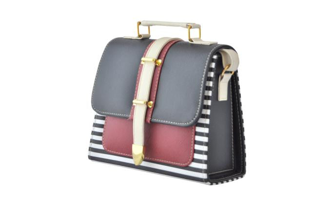 Black and Maroon Striped Box Bag