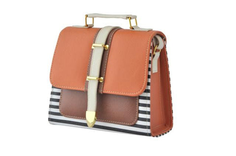 Burnt Orange Striped Box Bag