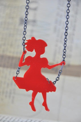 Girl On A Swing - Laser Cut Perspex Acrylic Pendant Necklace
