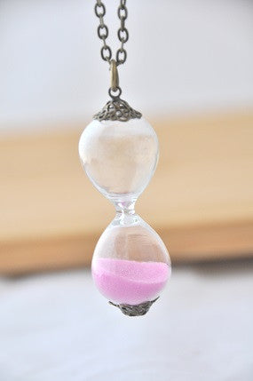Timer Hourglass Necklace in Lilac