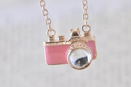 Mini Camera Necklace in Pink