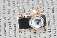 Mini Camera Necklace in Black