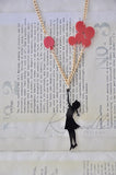 Girl with Flying Balloons - Laser Cut Perspex Acrylic Pendant Necklace