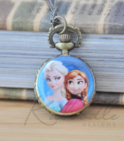 Frozen Inspired Elsa and Anna - Pocket Watch Necklace