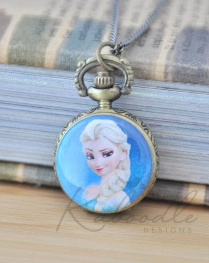 Frozen Inspired Elsa - Pocket Watch Necklace