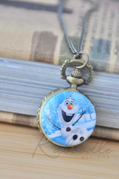 Frozen Inspired Olaf - Pocket Watch Necklace