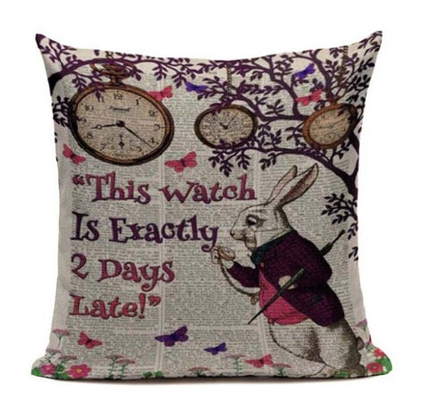 Alice In Wonderland Vintage Style Printed Linen Pillow Cushion - This Watch Is Exactly 2 Days Late