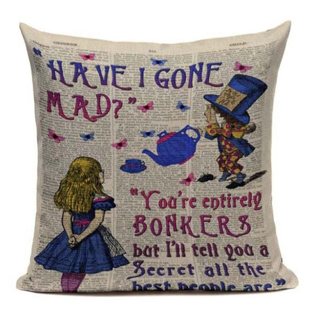 Alice In Wonderland Vintage Style Printed Linen Pillow Cushion - Gone Mad and Bonkers