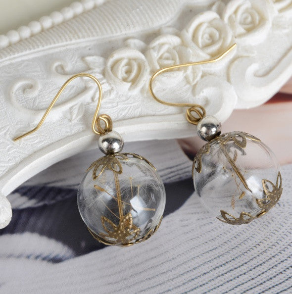 Dandelion Dried Flower Glass Orb Dangle Earrings in Vintage Bronze