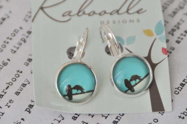 Handmade Round Clip Dangle Two Birds Earrings CDE1