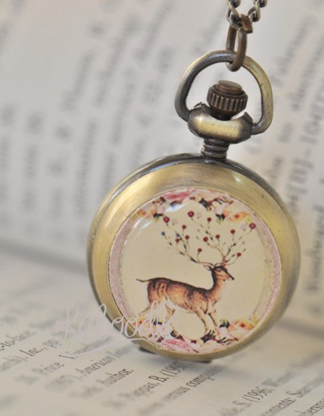 Wild Dreams Deer - Handmade Pocket Watch Necklace