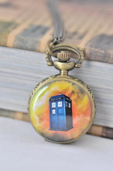 Dr Who Tardis Inspired Small Pocket Watch Necklace 1