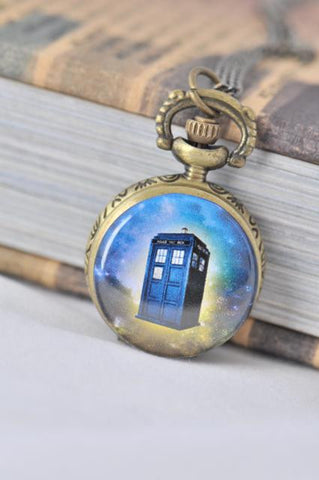 Dr Who Tardis Inspired Small Pocket Watch Necklace 2