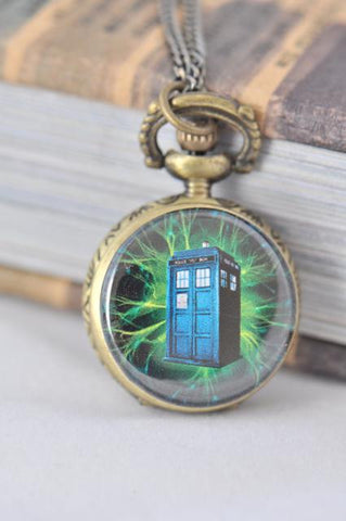 Dr Who Tardis Inspired Small Pocket Watch Necklace 3