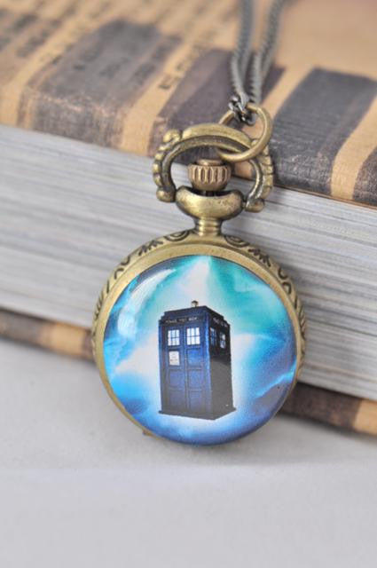 Dr Who Tardis Inspired Small Pocket Watch Necklace 4