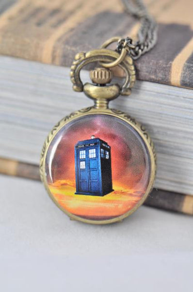 Dr Who Tardis Inspired Small Pocket Watch Necklace 5