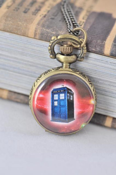 Dr Who Tardis Inspired Small Pocket Watch Necklace 6