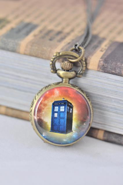 Dr Who Tardis Inspired Small Pocket Watch Necklace 8
