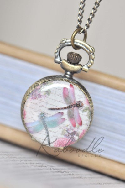 Dragonflies - Pocket Watch Necklace