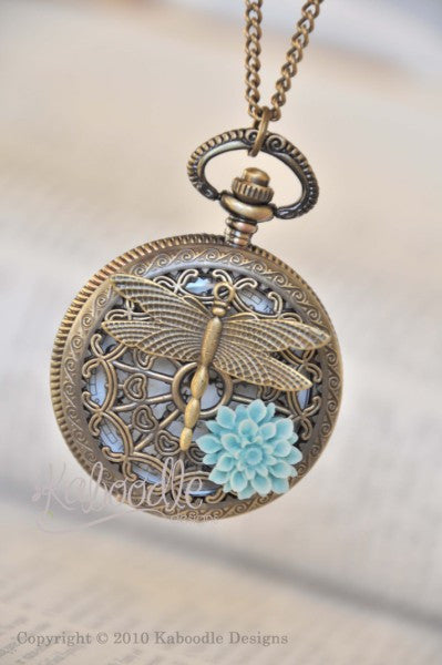 Dragonfly Pond in Aqua - Pocket Watch Necklace