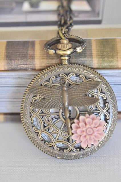 Dragonfly Pond in Pink - Pocket Watch Necklace