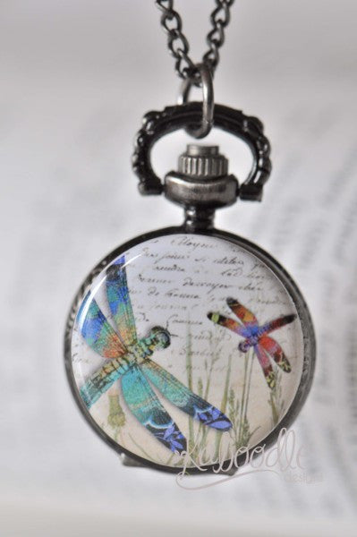 Dragonfly Siblings - Pocket Watch Necklace