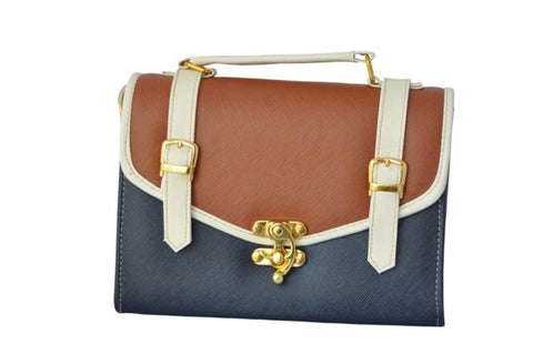 Double Strap School Satchel in Navy