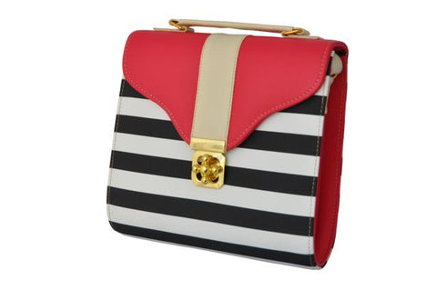 Curved Bottom Retro Bag in Black and White Stripes