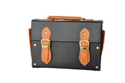 Double Strap Medicine Bag in Black