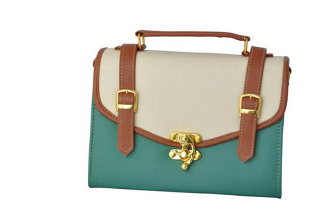 Double Strap School Satchel in Green - small