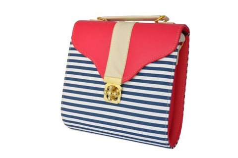 Curved Bottom Retro Bag in Checkered Red and Stripes