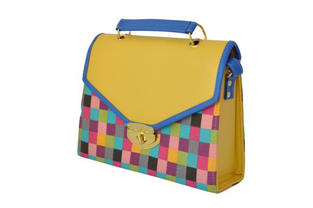 Rainbow Checkered Envelope Satchel Bag in Yellow