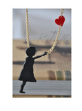 Girl With Heart Balloon Laser Cut Perspex Kitsch Necklace