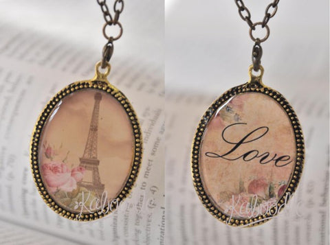 Handmade Oval Resin Double-Sided Necklace - Eiffel Tower and Love Script