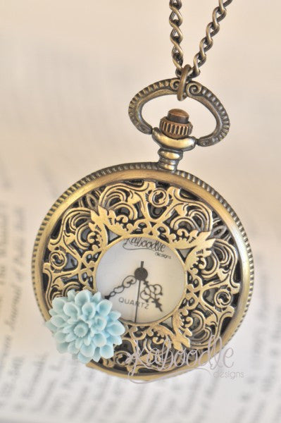 Endless Dreams in Blue - Pocket Watch Necklace