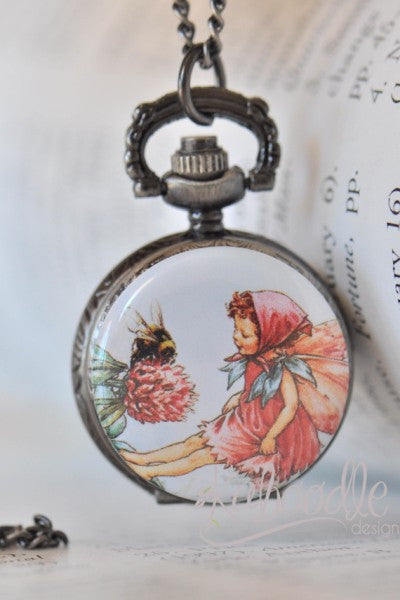 Fairy Bees - Pocket Watch Necklace