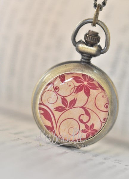 Vector Floral Swirls - Handmade Pocket Watch Necklace