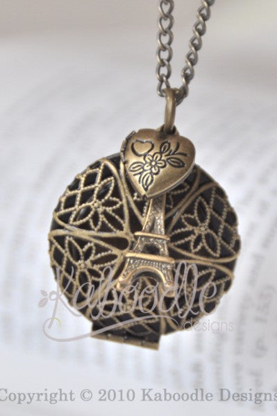 Filigree Eiffel Tower Locket Necklace