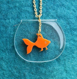 Fish Bowl Laser Cut Perspex Kitsch Necklace