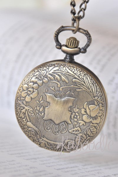 Floral Filigree Garden - Pocket Watch Necklace