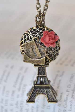 French Kiss Paris Eiffel Tower I Love You Letter Locket Necklace