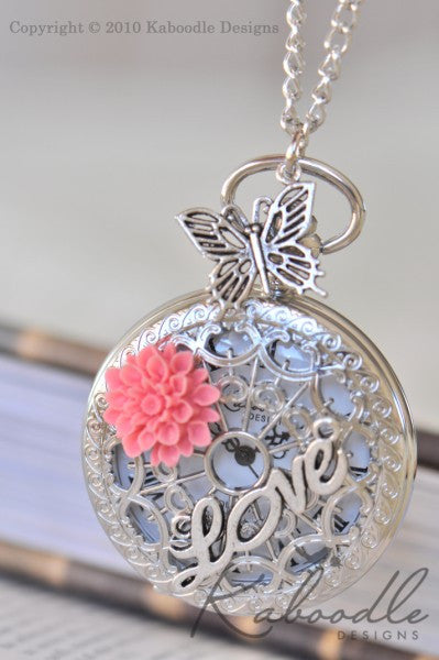 Garden of Love in Silver - Large Pocket Watch Necklace