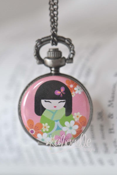 Hana Japanese Doll - Pocket Watch Necklace