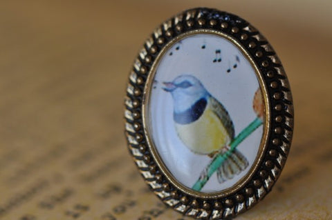 Handmade Artwork Ring - Bird