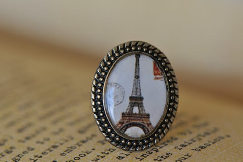 Handmade Artwork Ring - Eiffel Tower