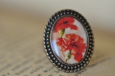 Handmade Artwork Ring - Red Flower