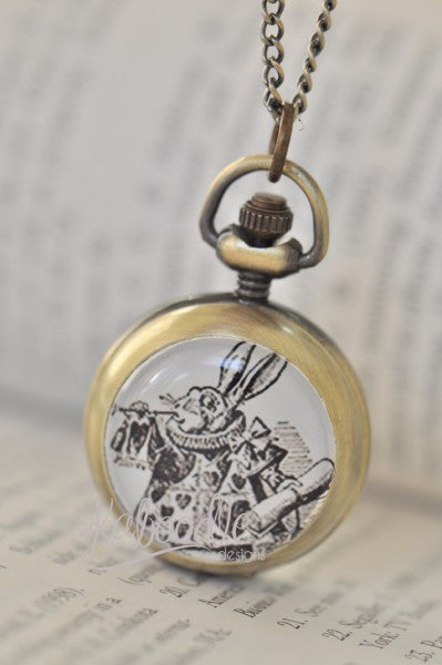 Herald Rabbit Black and White - Handmade Alice In Wonderland Pocket Watch Necklace
