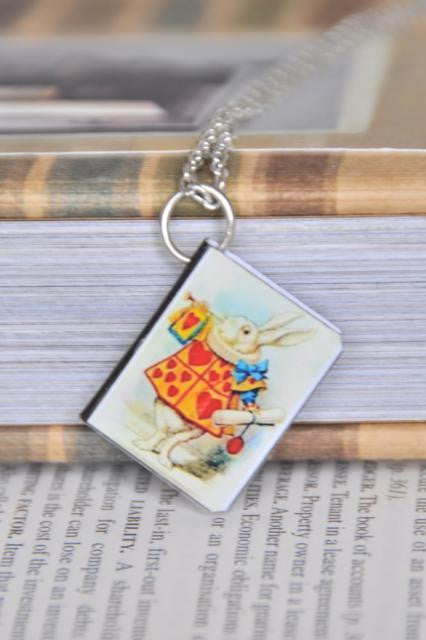 Herald White Rabbit Mini Book Necklace
