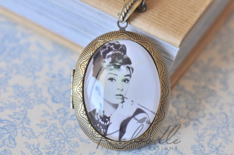 Holly Golightly Audrey Hepburn - Large Oval Locket